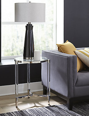 Modus Furniture International Marilyn Glass Top and Steel Base End Table, , rollover