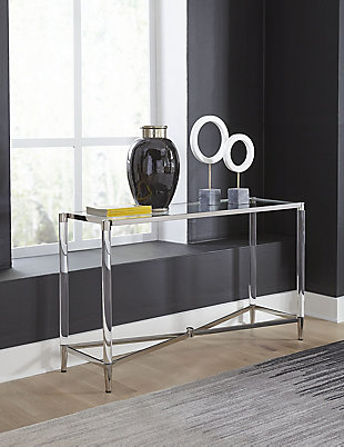Modus Furniture International Marilyn Glass Top and Steel Base Console Table, , rollover