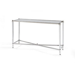 Modus Furniture International Marilyn Glass Top and Steel Base Console Table, , large