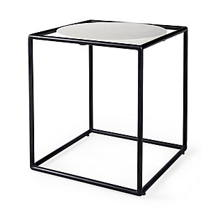 Mercana Austen Round White Marble Top with Black Metal Frame Side Table, , rollover