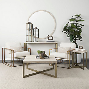 Mercana Faye X-Shaped Gold Console Table, , rollover