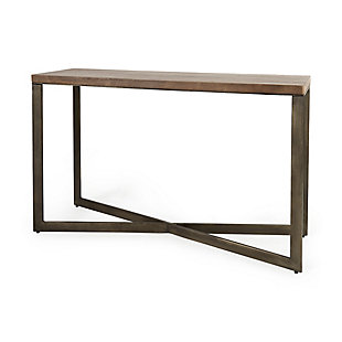 Mercana Faye X-Shaped Gold Console Table, , large