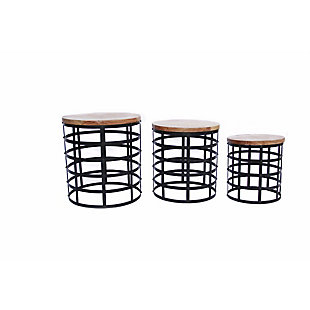 The Urban Port Round Nesting Coffee Tables with Caged Metal Base (Set of 3), , rollover