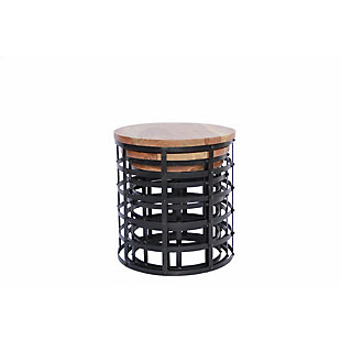 The Urban Port Round Nesting Coffee Tables with Caged Metal Base (Set of 3), , large