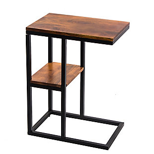 The Urban Port Iron Framed Mango Wood Accent Table, , rollover