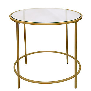The Urban Port Contemporary Style Metal Framed End Table with Glass Top, , rollover