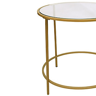 The Urban Port Contemporary Style Metal Framed End Table with Glass Top, , large