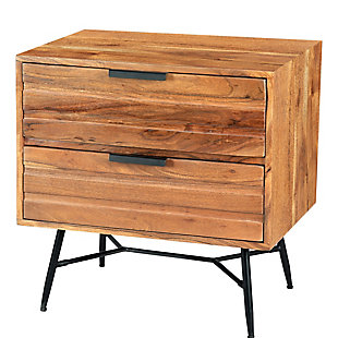 The Urban Port 2 Drawer Wooden End Table with Metal Angled Legs, , rollover