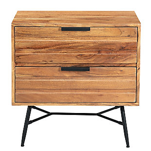 The Urban Port 2 Drawer Wooden End Table with Metal Angled Legs, , large