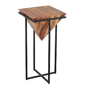 The Urban Port 30 Inch Pyramid Shape Wooden Side Table with Metal Base, , rollover