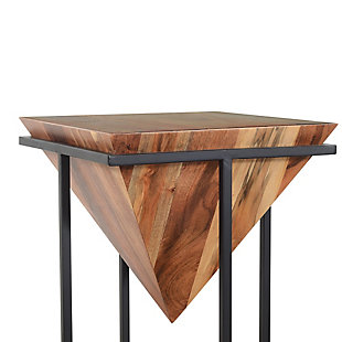 The Urban Port 30 Inch Pyramid Shape Wooden Side Table with Metal Base, , large