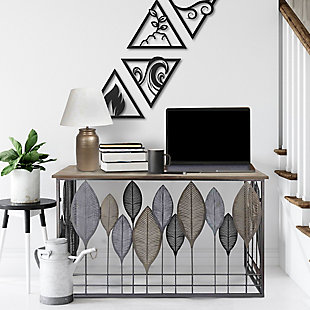 The Urban Port Wooden Top Console Table with Metal Leaf Embellishment, , rollover