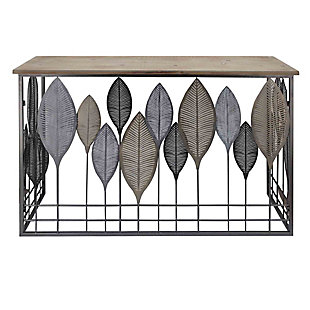The Urban Port Wooden Top Console Table with Metal Leaf Embellishment, , large