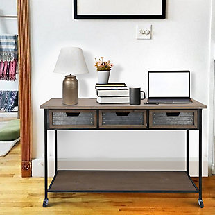 The Urban Port Caster Supported 3 Drawer Wood and Metal Console Table, , rollover