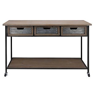 The Urban Port Caster Supported 3 Drawer Wood and Metal Console Table, , large