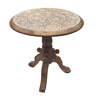 The Urban Port Intricately Carved Round Top Mango Wood Side Table, , rollover