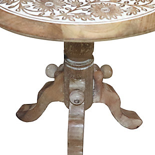 The Urban Port Intricately Carved Round Top Mango Wood Side Table, , large