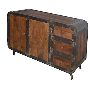 The Urban Port Rustic Style Storage Sideboard with 3 Drawers and 2 Door Cabinet, , rollover