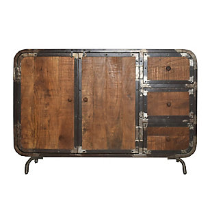 The Urban Port Rustic Style Storage Sideboard with 3 Drawers and 2 Door Cabinet, , large