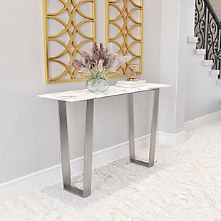 ZUO Atlas Console Table, White/Silver, rollover