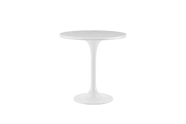 """Astrid 20"""" Round Marble Side Table in White Marble with White Base, , large"""