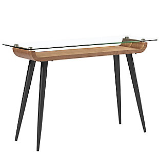 """Esmoriz Esmoriz 48"""" Console Table in American Walnut with Clear Tempered Glass Top and Matte Black Powder Coated Steel Legs, , large"""