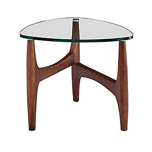 "Ledell 24"" Side Table in Clear Glass and Walnut, , rollover"
