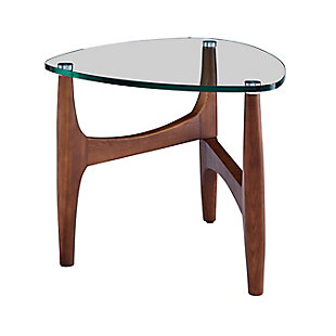 "Ledell Ledell 24"" Side Table in Clear Glass and Walnut, , large"