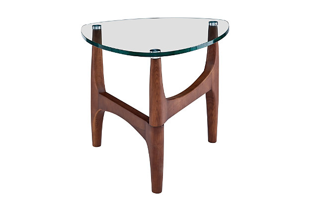 "Ledell 24"" Side Table in Clear Glass and Walnut, , large"