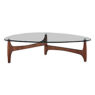 "Ledell 51"" Coffee Table in Clear Glass with Walnut Base, , rollover"
