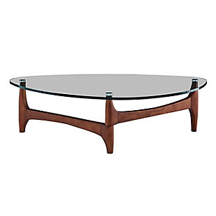 "Ledell 51"" Coffee Table in Clear Glass with Walnut Base, , large"