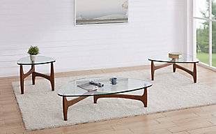 "Ledell 35"" Coffee Table in Clear Glass with Walnut Base, , rollover"