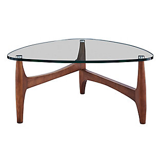 """Ledell 35"""" Coffee Table in Clear Glass with Walnut Base, , large"""