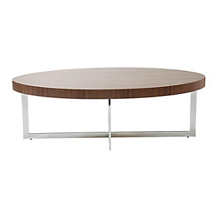 "Oliver Oliver 48"" Oval Coffee Table in American Walnut with Polished Stainless Steel Base, Walnut/Silver, rollover"
