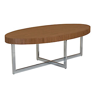 "Oliver Oliver 48"" Oval Coffee Table in American Walnut with Polished Stainless Steel Base, Walnut/Silver, large"