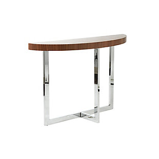 Oliver Console Table in American Walnut with Polished Stainless Steel Base, , large