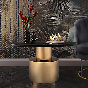 Terzo Black Marble Cocktail Table, Black, rollover