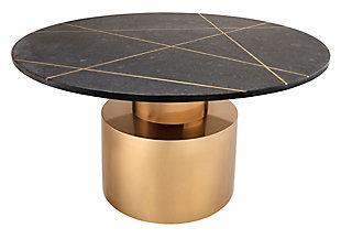 Terzo Black Marble Cocktail Table, Black, large