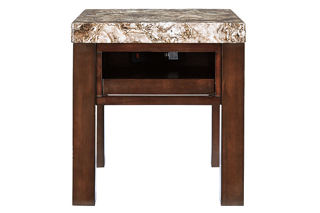 Kraleene End Table with USB Ports & Outlets, , large