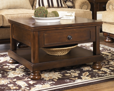 Ashley Porter Coffee Table with Lift Top, Rustic Brown