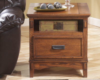 Amazing End Table Power Outlets Medium Brown Island Product Photo