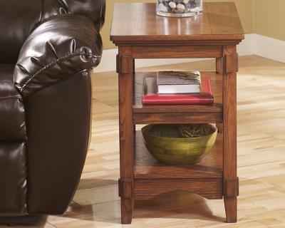 Ashley Cross Island Chairside End Table, Medium Brown