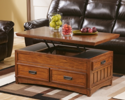 Cross Island Coffee Table with Lift Top Ashley Furniture HomeStore