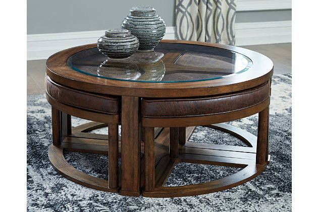 Hannery Coffee Table with Stools (Set of 5), , large