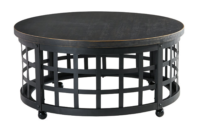 round black wood and metal cocktail table