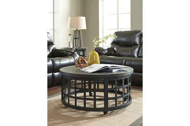 round black wood and metal coffee table