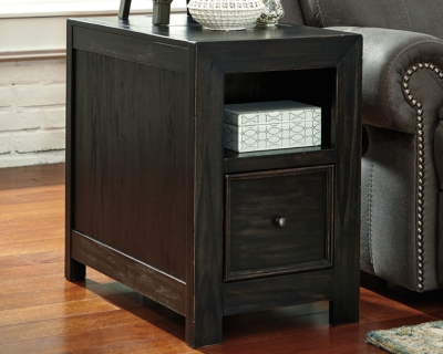 Select End Table Usb Ports Outlets Rubbed Black Chairside Product Photo
