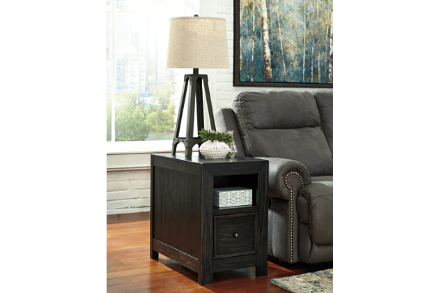 Gavelston Chairside End Table with USB Ports & Outlets, , large