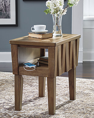 Rowenbeck Chairside End Table with USB Ports & Outlets, , large