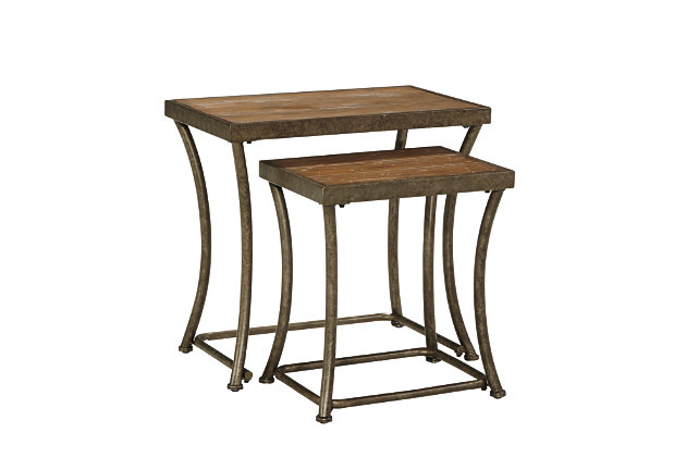 Set Of Rectangular Nesting End Tables With Curved Metal Base
